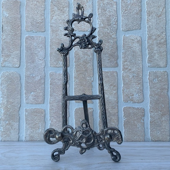 Victorian Style Ornate Brass Picture Stand Easel